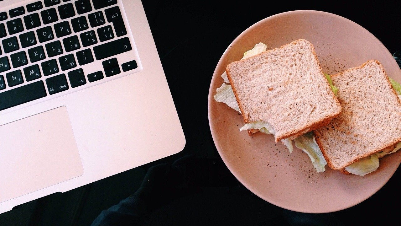 sandwich lunch laptop