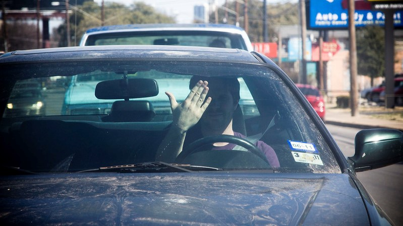 driver commuting traffic